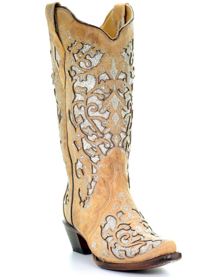 Corral womens glitter floral inlay western boots snip