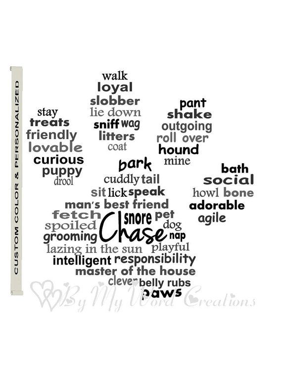Personalized Dog Paw Art Print Dog Art Print by ByMyWordCreations