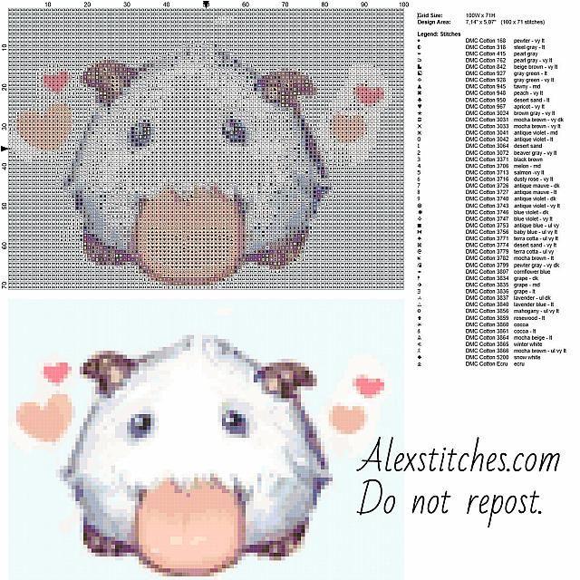 Little Poro League of Legends free cross stitch pattern 100x71 50 colors