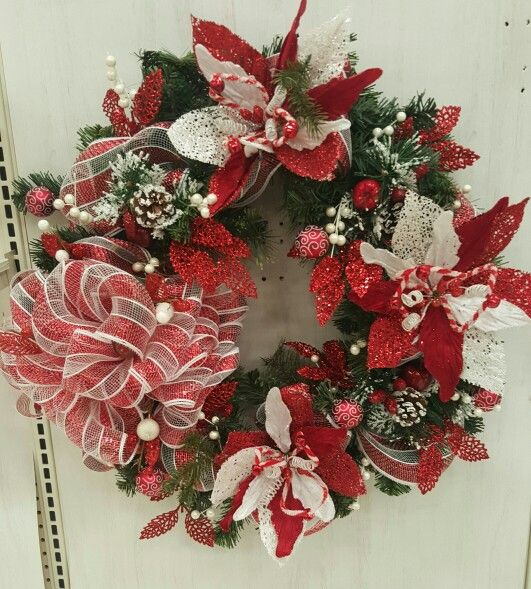 Red white wreath michael s christmas floral
