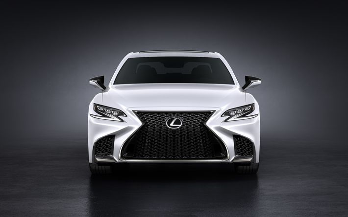 Download wallpapers Lexus LS 500, 2018, White LS, luxury sedan, front view, Japanese car, Lexus