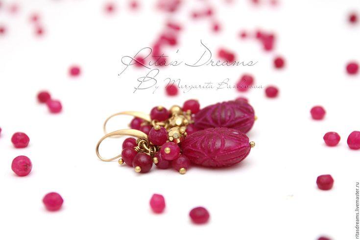Купить Серьги Рубиновые капли рубины латунь резные красные малиновые бордовые