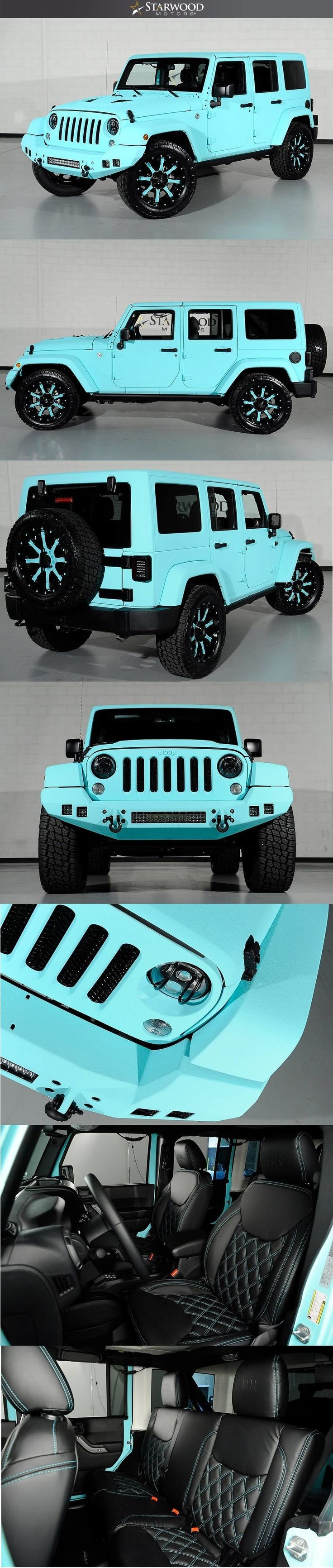 Starwood Motors Custom Tiffany Blue Jeep Wrangler..IM IN LOVE https://www.amazon.co.uk/Baby-Car-Mirror-Shatterproof-Installation/dp/B06XHG6SSY/ref=sr_1_2?ie=UTF8&qid=1499074433&sr=8-2&keywords=Kingseye