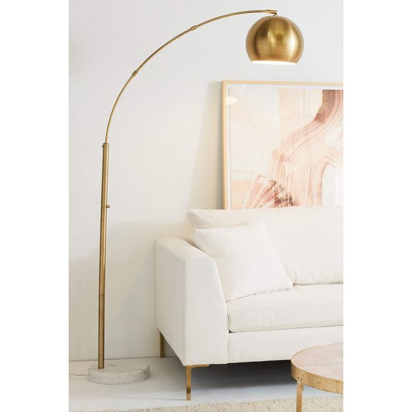 Anthropologie Actoria Arc Floor Lamp ($248) ❤ liked on Polyvore featuring home, lighting, floor lamps, gold, gold lamp, gold lighting, outdoor lamps, country style lighting and country lighting