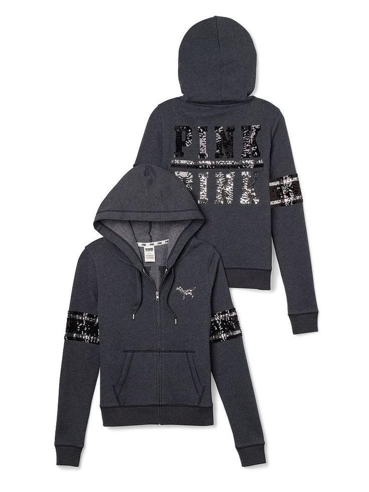 VS PINK Bling Perfect Zip Hoodie in Dark Grey
