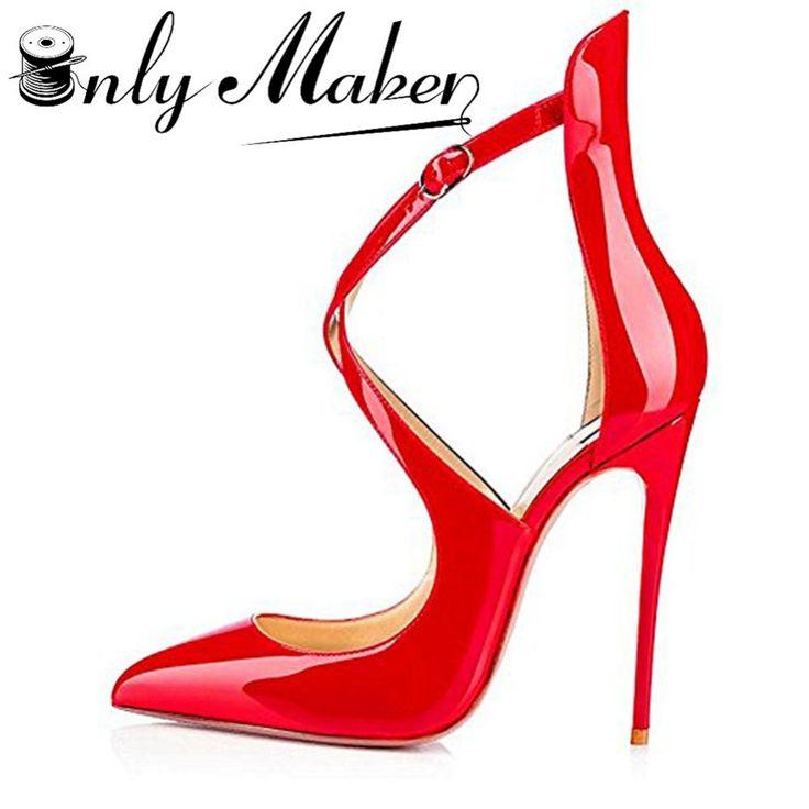 Onlymaker vrouwen Pompen Puntige Sandalen Schoenen Cross Strap 12 cm Dunne Hoge Hakken Zomer Stiletto Rood Schoenen Plus maat 14
