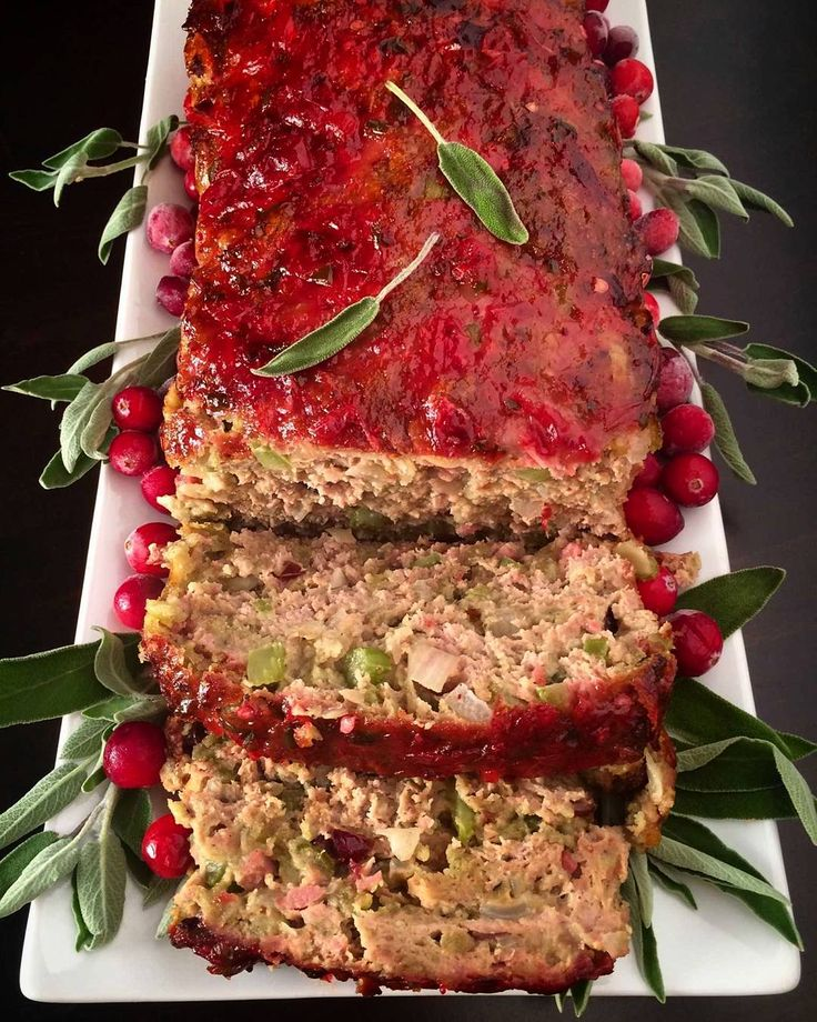 Turkey and stuffing meatloaf with a cranberry-jalapeno glaze.  Minced turkey, eggs, bread crumbs and spices, mixed with a stuffing of dried cranberries, kielbasa, almonds, celery and onions.  The perfect weeknight holiday meal!  #cookwithzwilling #zwillingholidays #holidays #canada @zimmysnook