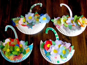 paper plate umbrellas filled with spring flowers craft; found at Everything Except The Grill