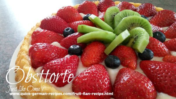 Strawberry Obsttorte ... so easy, so quick, and so wunderbar! Check it out at http://www.quick-german-recipes.com/fruit-flan-recipe.html