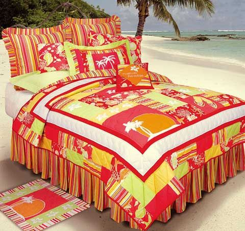 Tropical Paradise Bedding - This quilt ensemble will make your bedroom feel like an island vacation! This new and intense quilt combines oranges, corals, greens, yellows, and reds to bring all the colors and the heat of the tropics straight to you.