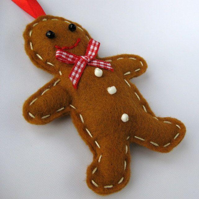 Felt Gingerbread Man Christmas Tree Hanging Decoration £3.50