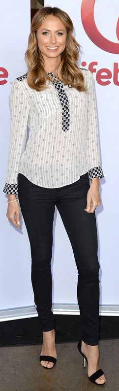 Who made Stacy Keibler's white and black print top that she wore in Los Angeles on July 15, 2013?