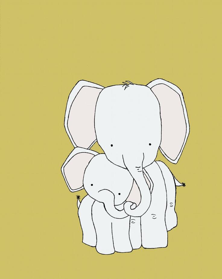 Elephant Nursery Art Print, Nursery Decor, Elephant Art Print, Mama and Baby Elephant, 8x10 Children Giclee Art Print, Kids Wall Art. $15.00, via Etsy.
