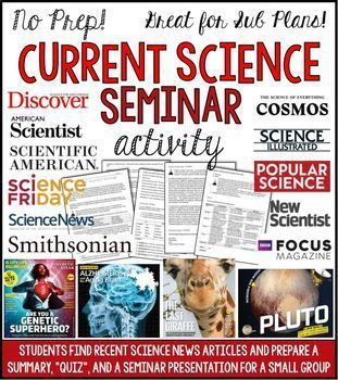 Here is a way for you to get your students to pay attention to current news in science, practice their summarizing skills, and develop higher-order questions about an article's content! Students will choose a science news article from the past 30 days fro