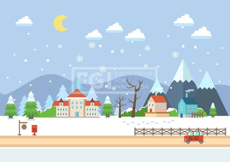 SILL151, 겨울배경, 벡터, 풍경, 에프지아이, 겨울, 배경, 백그라운드, 오브젝트, 건물, 자동차, 교통, 밤, 저녁, 야간, 마을…