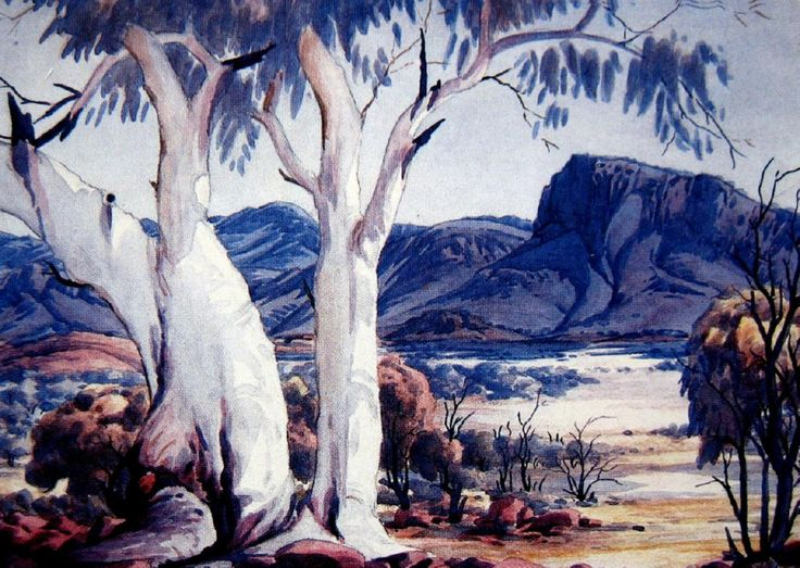 Albert Namatjira, Ghost Gum and Hasst's Bluff, watercolour, signed lower right, 25 x 34.5 cm