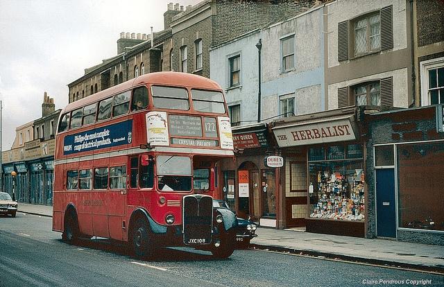 Crystal Palace bound 122 in Lewisham, 1978