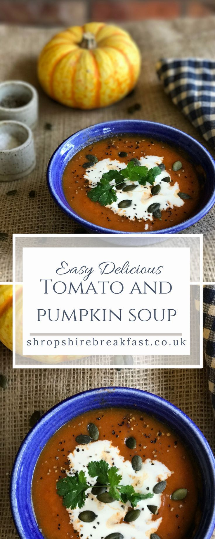 Make this easy, healthy tomato and pumpkin soup recipe this autumn. It's low calorie and low fat at only 70 calories per bowl. Make it in the summer with your glut of courgettes or marrows. My favourite fast day recipe! #healthy #recipe