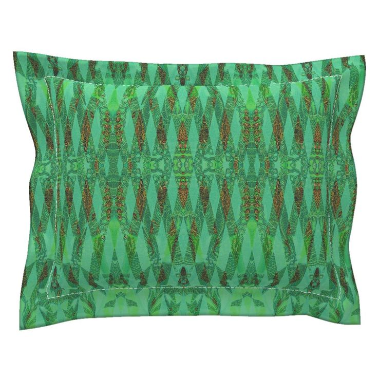 Sebright Pillow Sham with Flanged Detail featuring KELP  TURQUOISE MORNING by joancaronil | Roostery Home Decor
