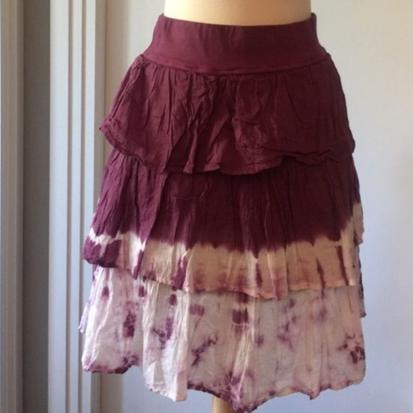 Tie dye tier skirt Wine colored tie dye tier ruffle skirt.  New with tags. Solitaire Skirts