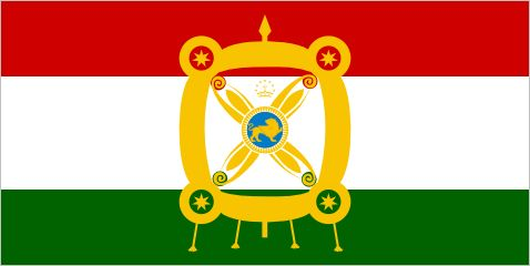 President of Tajikistan, since 2006 The emblem in the centre of this flag is a reproduction of the Derafsh Kaviani, the legendary royal standard of the Sassanid Empire. What's an ancient Persian banner doing so far from Iran? Well, the Tajiks speak...