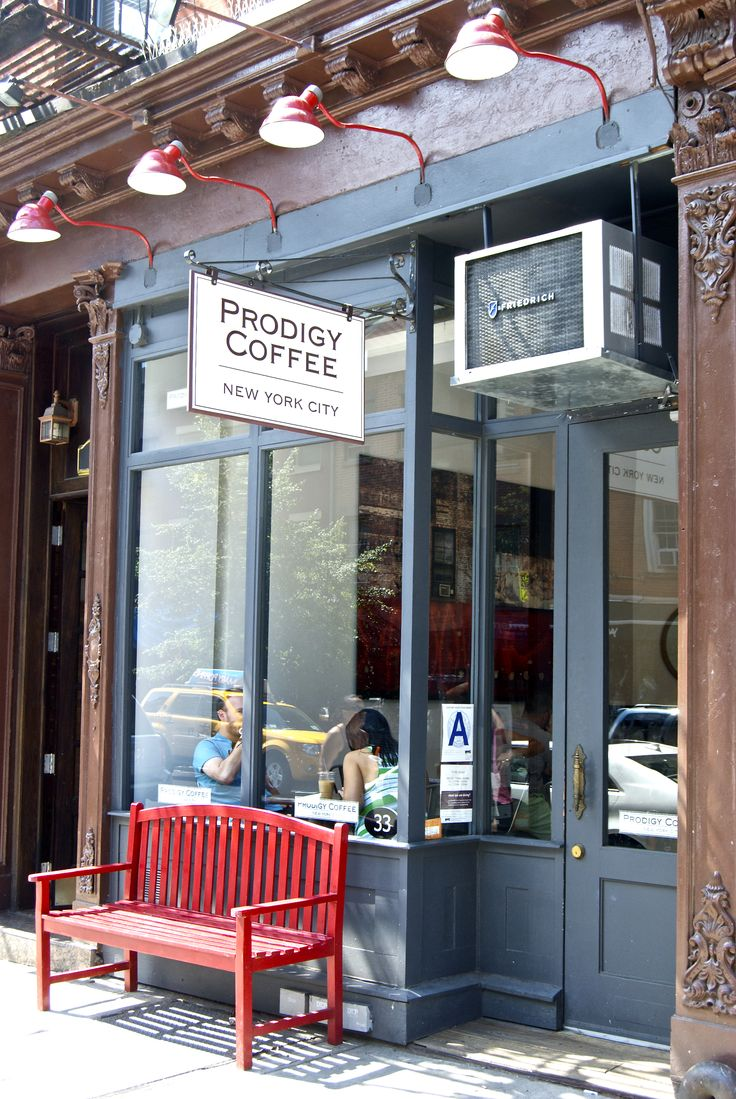Lights. Signage. Color Facade. Bench! Prodigy Coffee | New York. Use of bench as waiting area