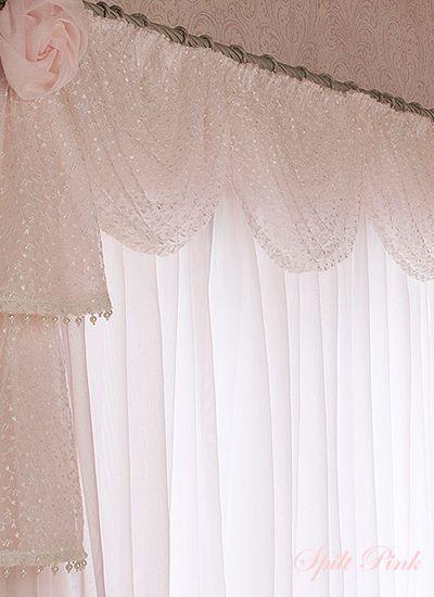 パール&ローズ上飾り付レースカーテンSIZE:W100×H200cmが2枚 - 可愛いカーテンの購入ならオーダーカーテン通販のスピルトピンク