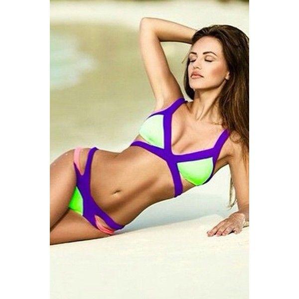GREEN PURPLE TONAL STITCHING SPAGHETTI STRAP CUTOUT DESIGN BEACH WEAR... ($19) ❤ liked on Polyvore featuring swimwear, bikinis, purple swimsuit, cut-out bathing suits, cut-out swimsuits, bathing suits bikini and swim suits