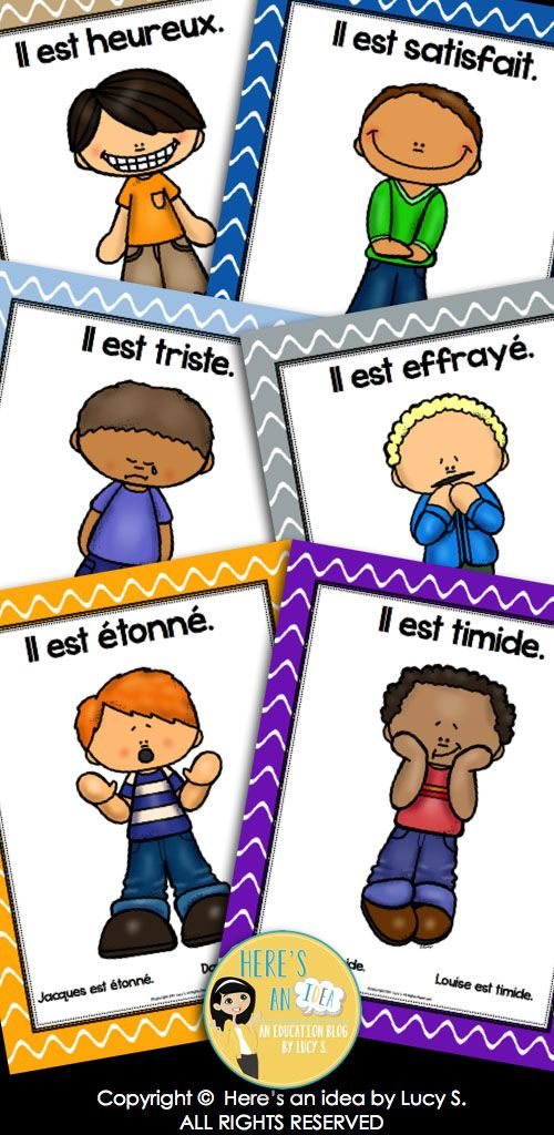 French Emotions and Feelings Posters and Foldable Mini-Books. Des émotions en français: affiches et mini-livres.