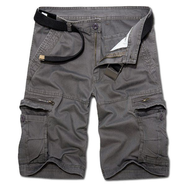 Casual Loose Fit Zip Fly Solid Color Multi-Pockets Cargo Shorts For Men #CLICK! #clothing, #shoes, #jewelry, #women, #men, #hats, #watches