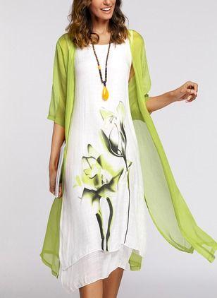 Floral Wrap 3/4 Sleeves Midi X-line Dress - Floryday 1