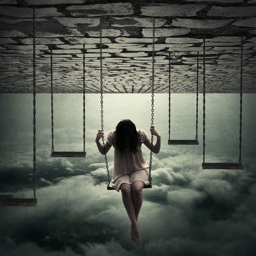 Swinging above uncertainty, holding on to one thought, and one fiber of reality. (Reminds me of Mikki from Black Box by Cassia Leo)