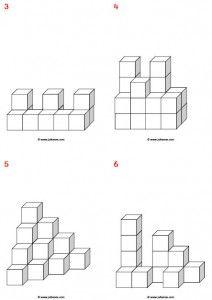 Voorbeeldkaarten 3d voor de bouwhoek of het bouwen met de kleine blokjes.