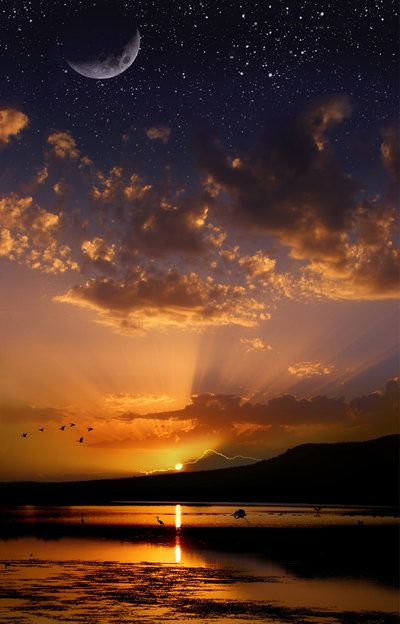 ✯ Wow - Moon, Sun and Stars at the same time! - Wisconsin: Sun Moon, Sky, Nature, Sunsets, Stars, Beautiful, Sunrise Sunset, Place, Photo