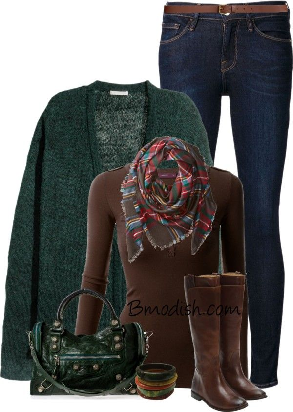 dark green and brown fall color outfit bmodish