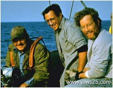 Richard Dreyfuss, Roy Scheider and Robert Shaw in Jaws.  I will watch this movie everytime I find it on tv.  I just can't pass it by.