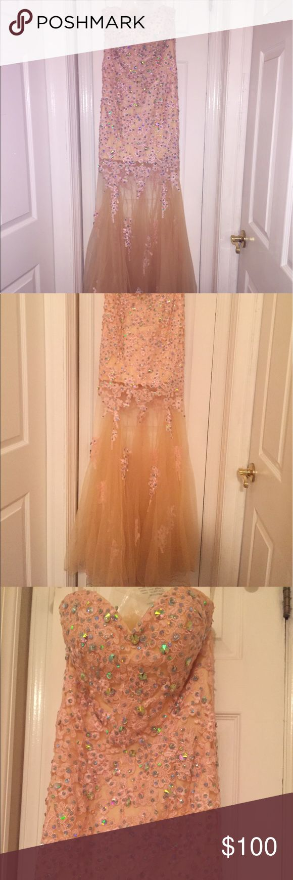 I am selling a prom dress! This prom dress is nude/ pink with gems and sequins throughout the design of the dress. The top half of the dress is embroidered and the bottom half of the dress is tulle with some embroidered designs going down it. This dress is strapless and also comes with excess matching tulle. WORN ONCE. Slight dirt color on bottom edges of tulle from being worn. panoply  Dresses Prom