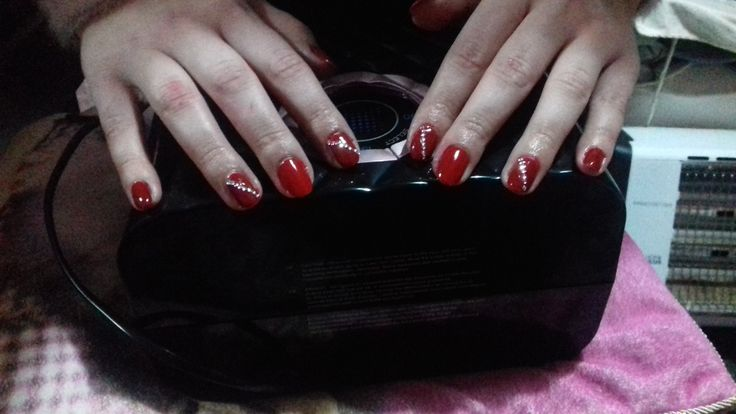 #Red nails  #diamonds #glam girl