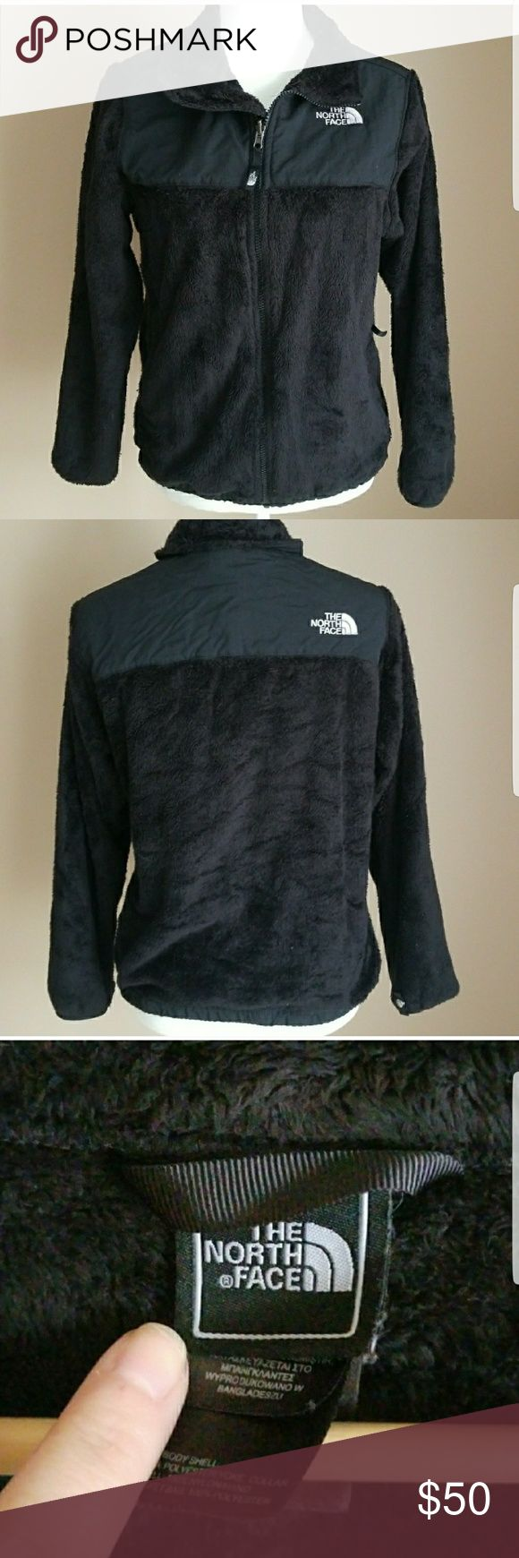 Girls Youth XL The North Face Jacket Girls Youth XL (18) black zip jacket from The North Face.  Very soft, faux fur material.  Pockets on the sides.  In excellent condition. The North Face Jackets & Coats