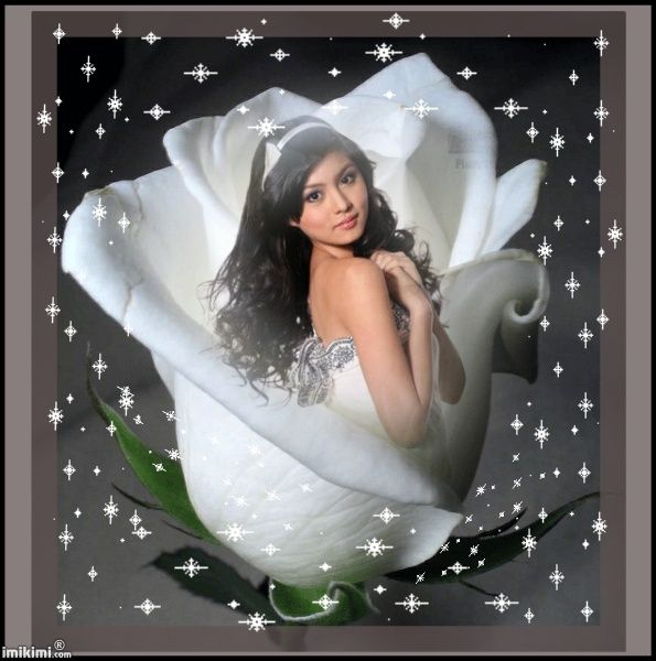 """the purity of your love"" kimi from our artist, Liz. Click to insert your own photo on the white rose. Animated art."