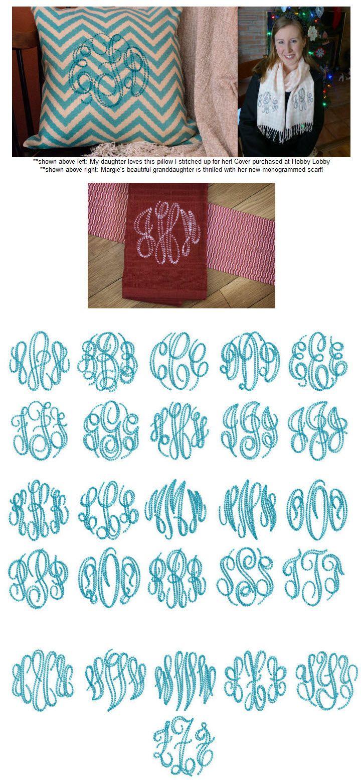 Machine Embroidery Monogram Fonts