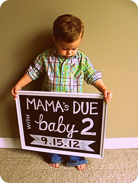 """Cute idea for announcing a baby #2. But I might do... """"Mommy-to-be with #3"""". ;) far in the future of course."""