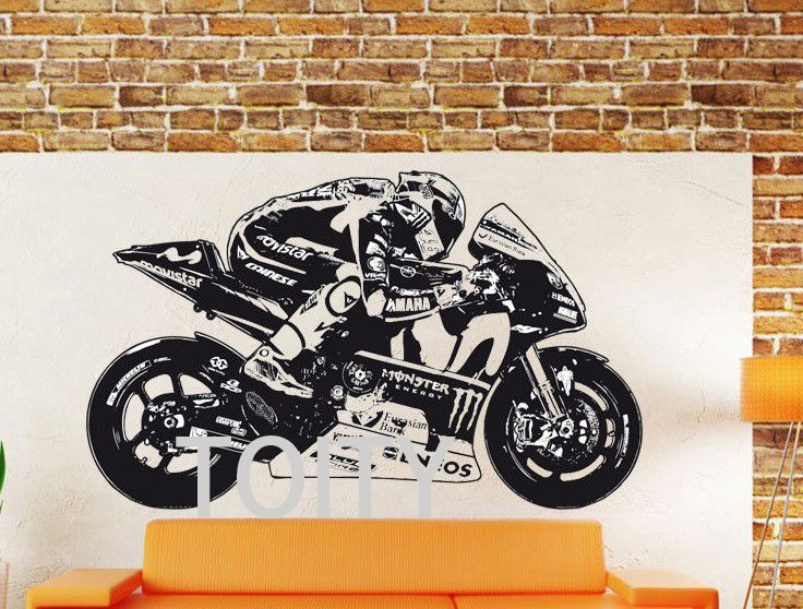2016 Nouveau Moto GP Valentino Rossi Mur Art Autocollant Moto GP Affiche Moto Racing Vinyle Decal Motocross Murale dans Stickers muraux de Maison & Jardin sur AliExpress.com | Alibaba Group