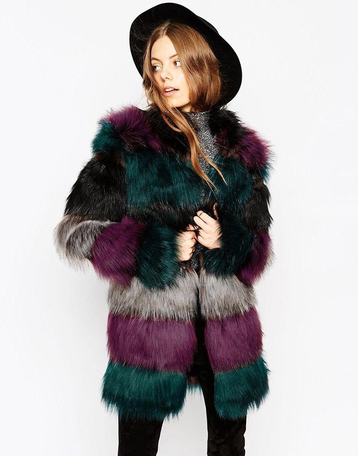 Image 1 - ASOS - Manteau long en fausse fourrure épaisse