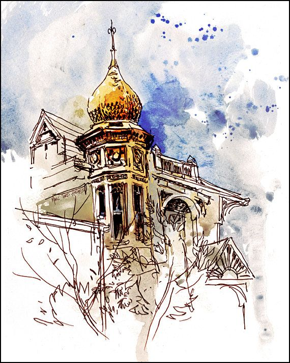 Art print watercolor over pen and ink by citizensketcher for Printing architectural drawings