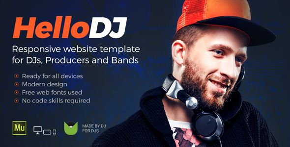 HelloDJ - DJ / Producer / Music Band Responsive Muse Template - Personal Muse Templates