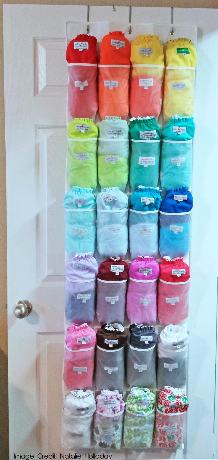 Use a shoe organizer for cloth diaper storage