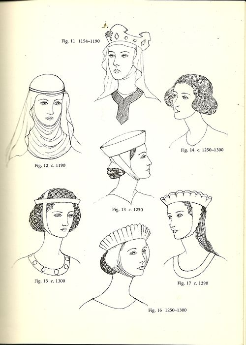 Anglo-Saxon (600 – 1154): Simple Veils, Head-tires, Combs, and Pin     Norman (1066-1154): Couvre-chef, hair uncovered, and extreme length     Plantagenet (1154-1399): Wimple, Barbette, Fillet and Crespine     Plantagenet (14th century): Horizontal Braiding, Gorget     Plantagenet Crespine ( 1364-Late 14th century)     Lancaster (1430-1460): Heart-shaped and Turban Headdresses     York (1460-1485): Butterfly and Hennin