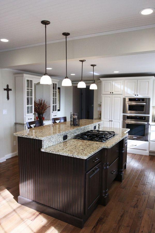 New Venetian Gold Granite Countertops Dark Kitchen Island Pendant Lights Hardwood Flooring