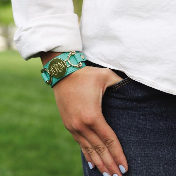 "Engraved Leather Cuff Bracelets - Teal - BeauJax Boutique. So trendy, and colorful with beautiful gold horse bit accents, our Engraved Leather Cuff Bracelet is eye catching and loaded with style. It will be the perfect addition to your fall wardobe. Dress it up or keep it casual, it will be your ""go to"" piece this fall! #Christmas #gifts #monogrammed"